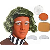 FACTORY WORKER SET, WIG + WHITE EYEBROWS + ORANGE FACE PAINT + MAKE UP SPONGE, ACCESSORY GREEN CHOCOLATE FACTORY WORKER FANCY DRESS