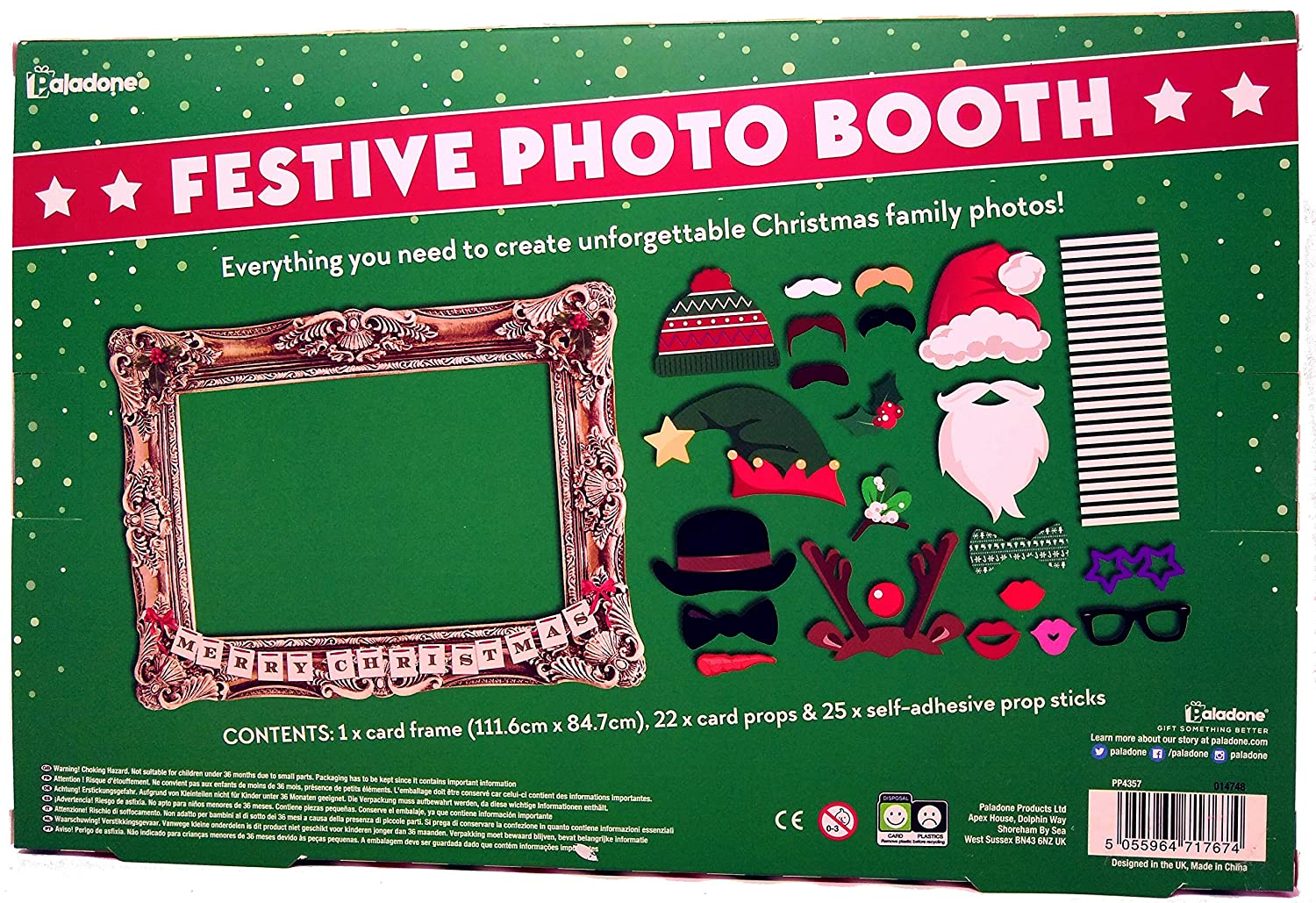 Amazon.com: Paladone Festive Photo Booth Props with Card Frame: Toys ...