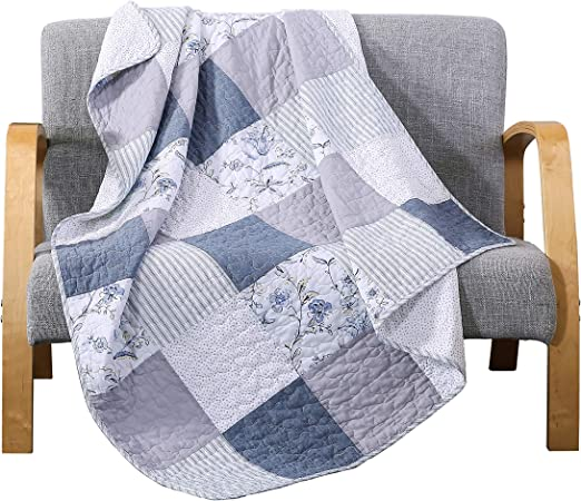 50 x 60 SLPR Sweet Dreams Cotton Real Patchwork Quilted Throw Home Chic Multicolor Decorative Lap Throw Quilt for Bed Couch Sofa
