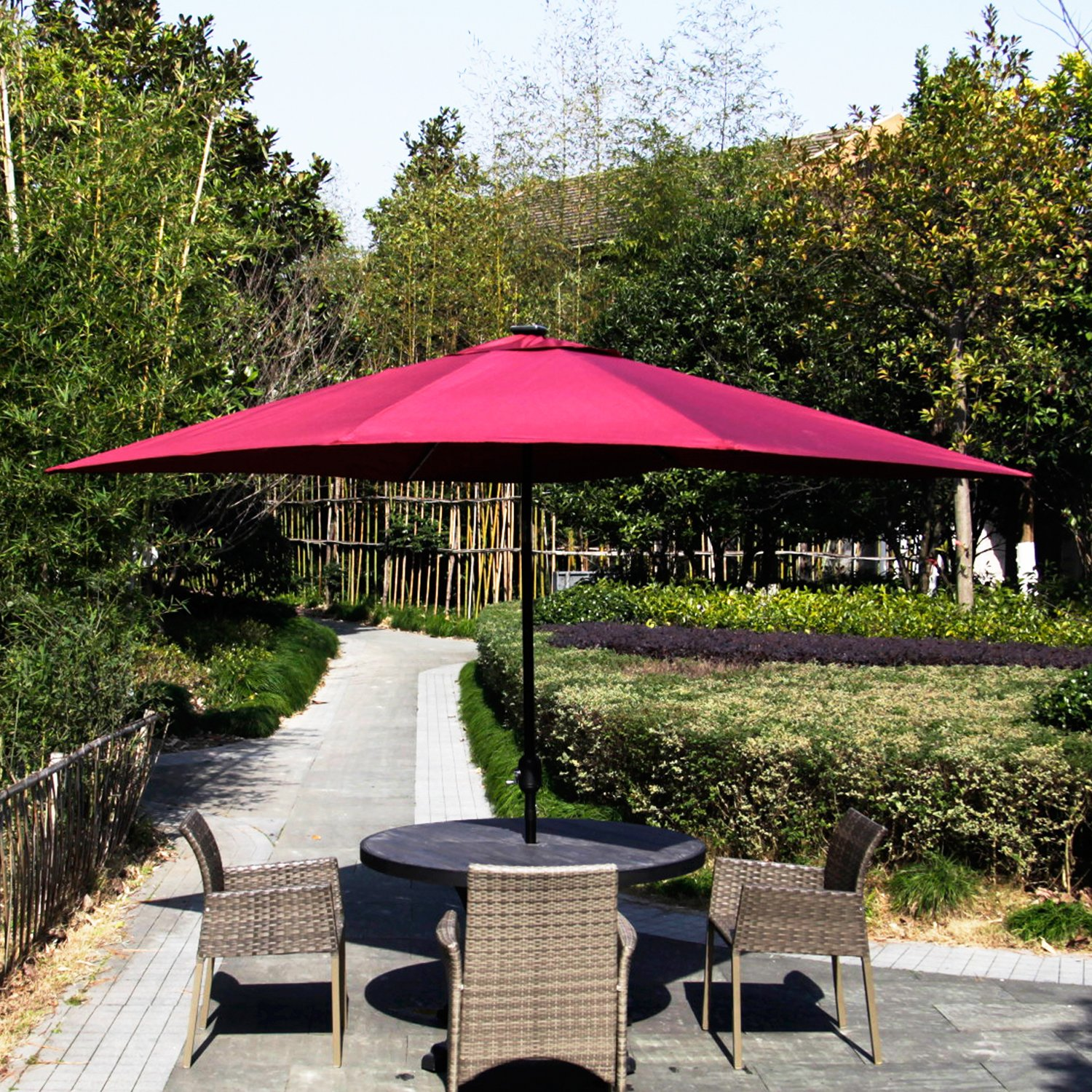 Peach Tree Sunbrella 9FT Round Patio Market Table Umbrella LED Double Top Outdoor Solar Power Lights Parasol with Push Button Tilt Crank Lift Mechanism, Burgundy