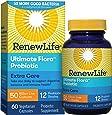 Renew Life Adult Probiotics 50 Billion CFU Guaranteed, 12 Strains, For Men & Women, Shelf Stable, Gluten Dairy & Soy Free, 60 Capsules, Ultimate Flora Extra Care