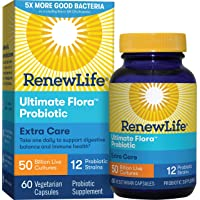 Renew Life Adult Probiotics 50 Billion CFU Guaranteed, Probiotic Supplement, 12 Strains, For Men & Women, Shelf Stable, Gluten Dairy & Soy Free, 60 Capsules, Ultimate Flora Extra Care