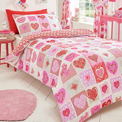 a7779f47f62 Love Hearts Patchwork Pink Red Lilac Purple Duvet Cover Quilt Bedding Set   Amazon.co.uk  Kitchen   Home