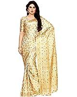 Mimosa By Kupinda Women's Art Silk Saree Kanjivaram Style (Latest Designer Sarees /Party wear sarees /New collection sarees) (4123-65-SD-HWT) Color: Beige