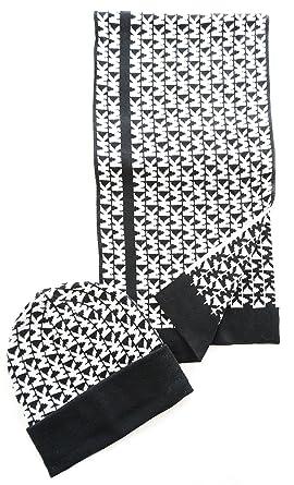 ae1a0b8f3d3 Michael Kors Women s Black Cream MK Logo 2 Piece Scarf and Hat Set ...