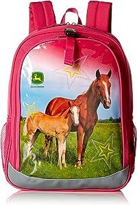 John Deere Girls Kids Boys Child School Backpacks, MAGENTA, One Size