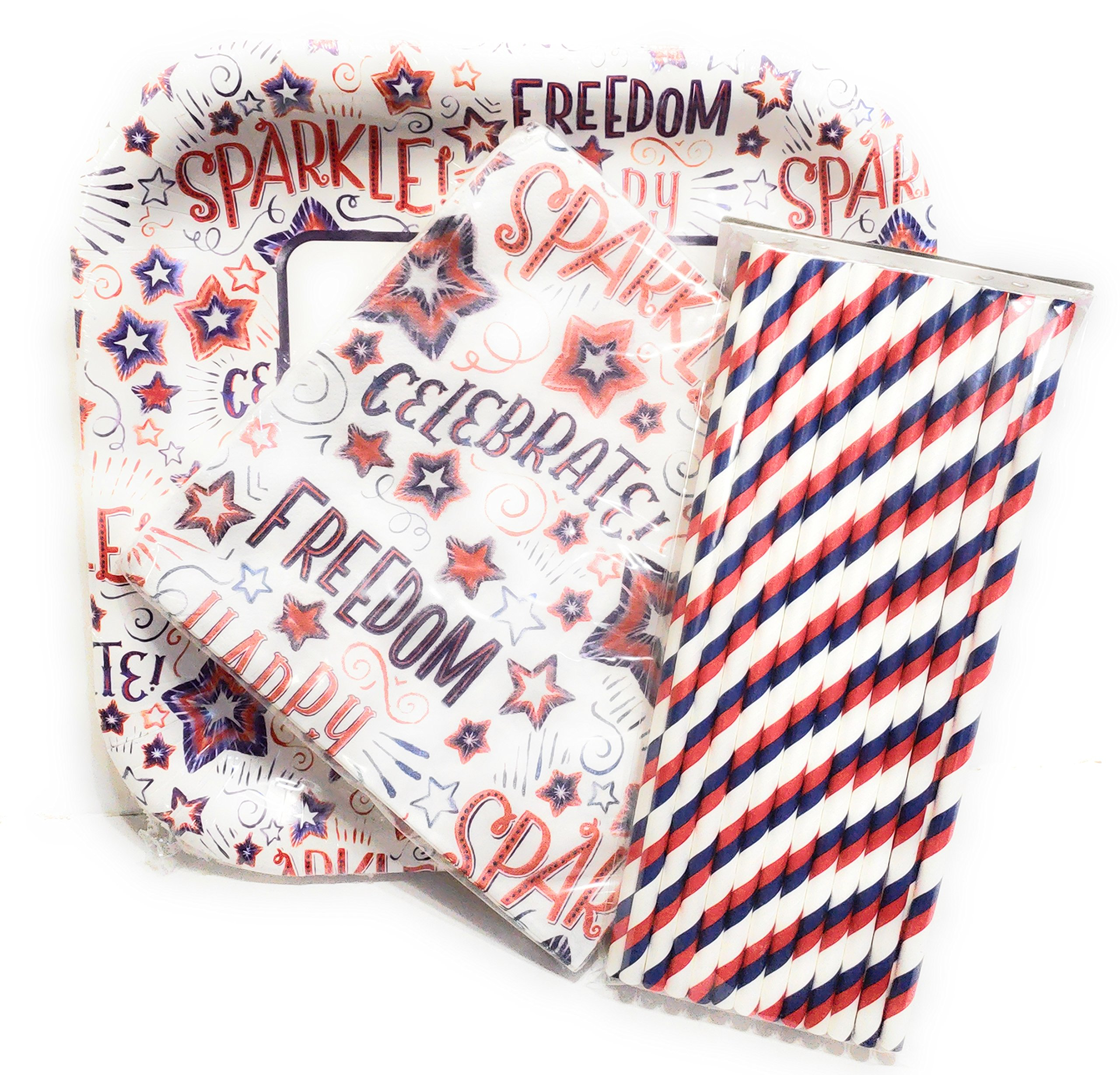 4th of July Paper Plates, Napkins & Straws - God Bless America