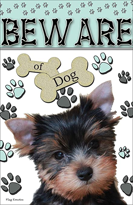 Flag Emotes Double Sided Garden Flag Beware Of Dog Yorkie