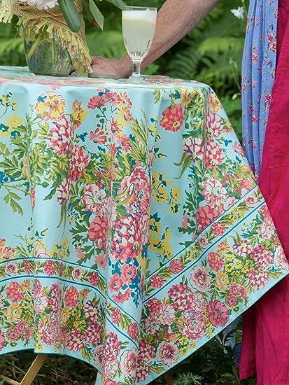 April Cornell Zinnia Floral Tablecloths Assorted Sizes 100% Cotton Aqua (60  X 84)