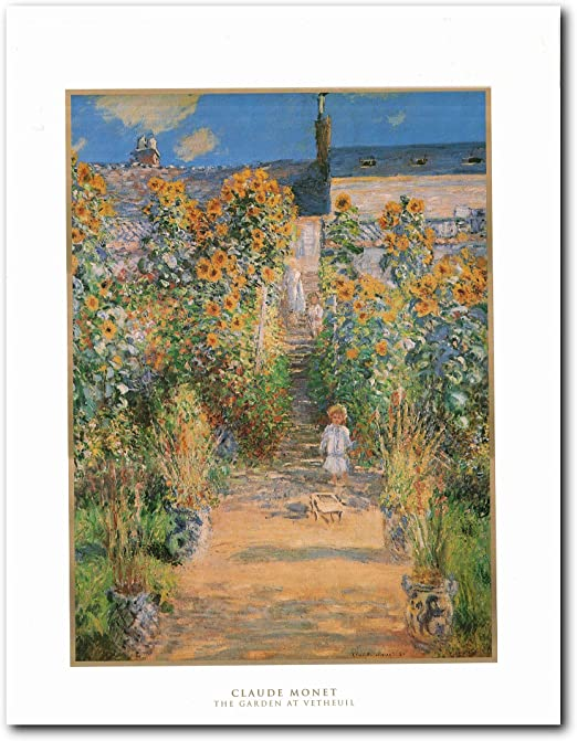 Monet Monets Garden in Vetheuil Framed Canvas Print Repro 16x20
