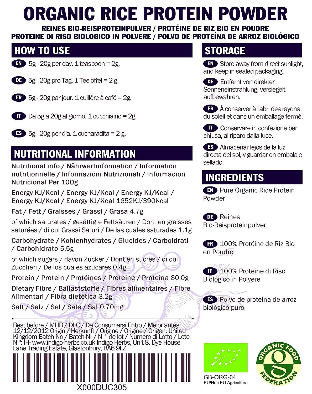 Indigo Herbs Polvo de Proteína de Arroz Orgánico 1kg
