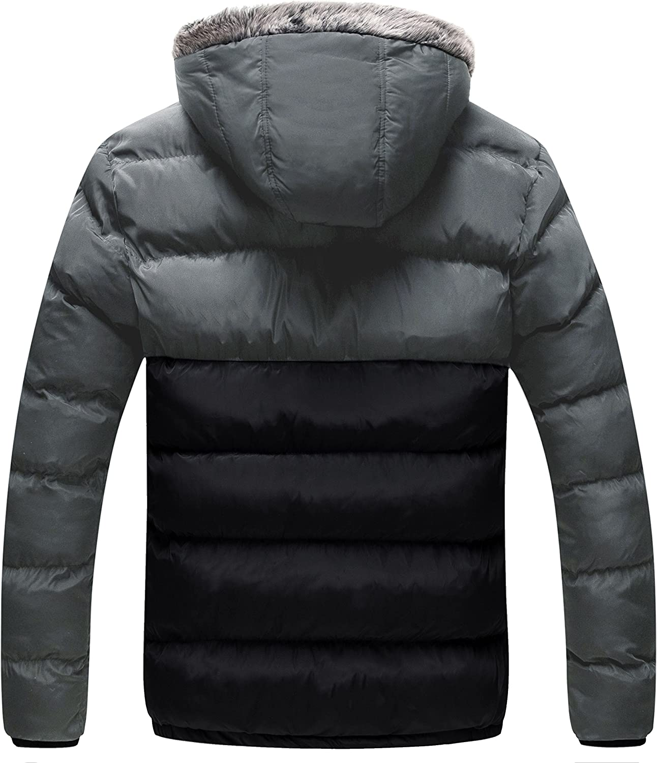 Winter Men Warm Quilted Down Coat Padded Bubble Puffer Jacket Ski Hooded Parka