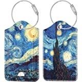 2 Pcs Luggage Tags, Fintie Privacy Cover ID Label with Stainless Steel Loop and Address Card for Travel Bag Suitcase (Starry