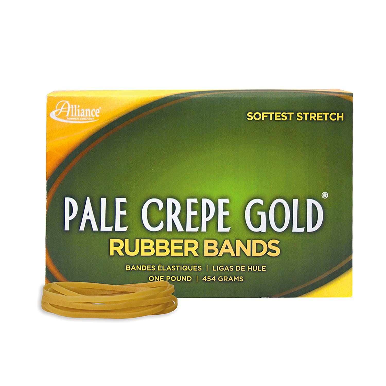 320 Bands 1 lb Box Contains Approx Alliance Rubber 20745 Pale Crepe Gold Rubber Bands Size #74 3 1//2 x 3//8, Golden Crepe