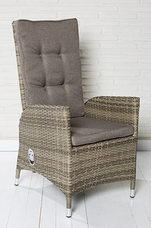 6x Luxus Polyrattan Hochlehner Mit Verstellbarer Rückenlehne Gartensessel  Loungesessel Relaxsessel Positiosstuhl Sessel Rattan Stuhl Gartenstühle ...