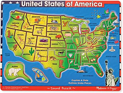 Us States Map Puzzle Amazon.com: Melissa & Doug Deluxe Wooden USA Map Sound Puzzle
