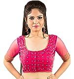 Intrigue Vivacious pink net and chanderi silk handwork blouse