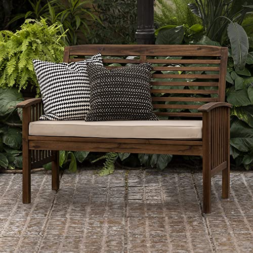Walker Edison Furniture Company AZWLSDB Wood Outdoor Patio Ladder Back Loveseat Chair with Washable Cushions All Weather Backyard Conversation Garden Poolside Balcony Couch, Dark Brown