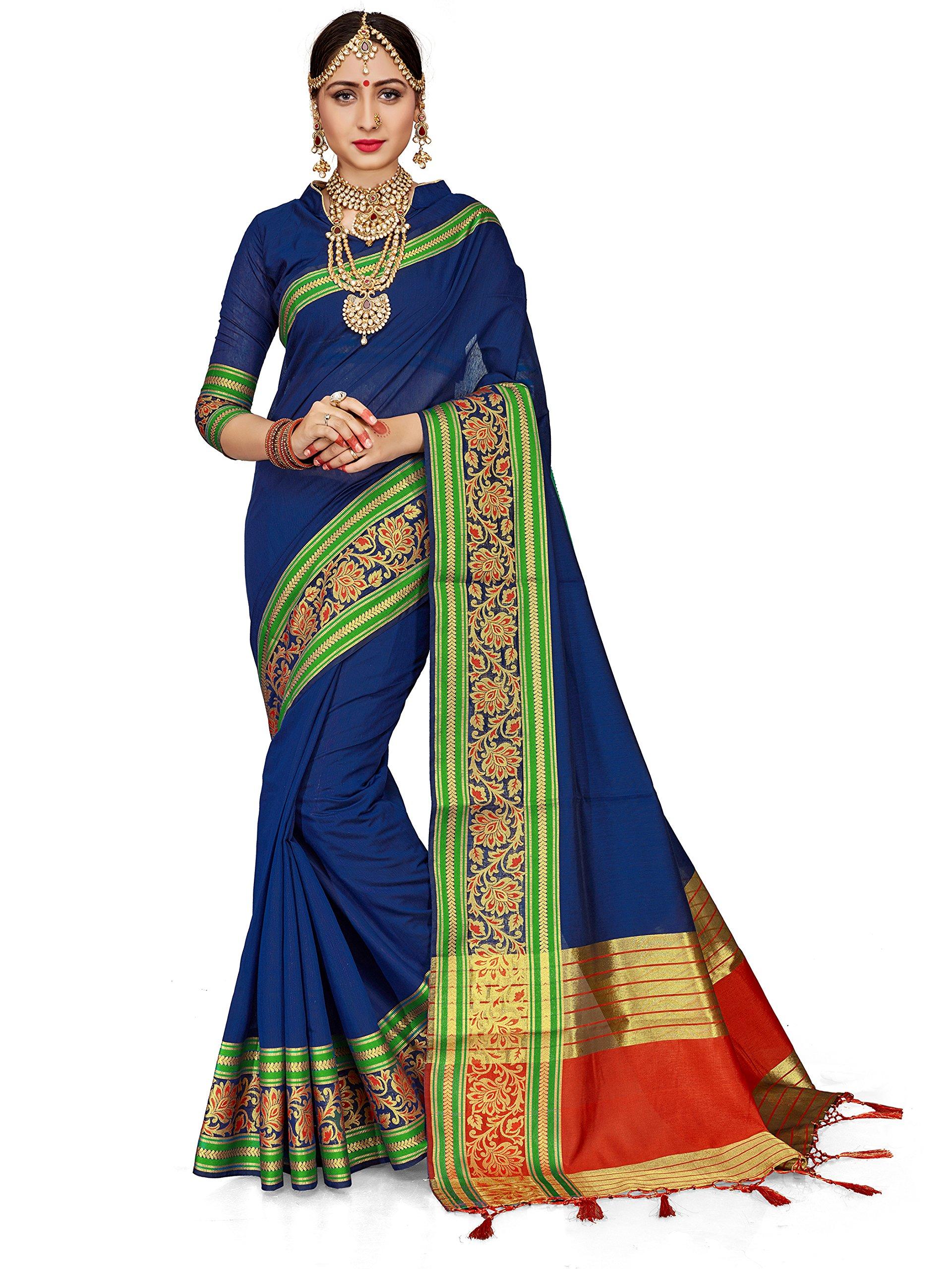 ELINA FASHION Sarees Women Cotton Silk Woven Saree l Indian Wedding Wear Sari Unstitched Blouse (Royal Blue 1)