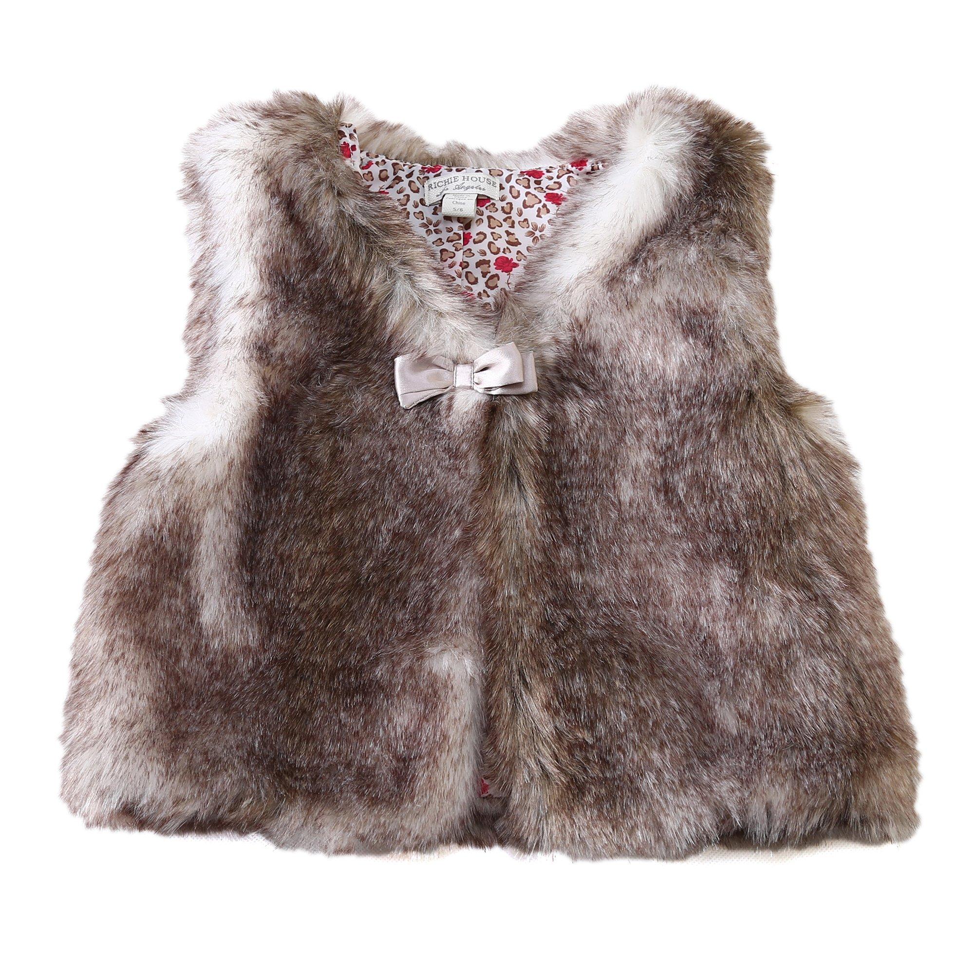 Richie House Little Girls' Artificial Fur Vest with Bow RH0792-D-4/5