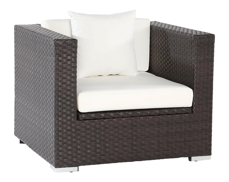 OUTFLEXX Sessel aus Polyrattan mit Kissenboxfunktion inkl. Polster und Kissen in braun