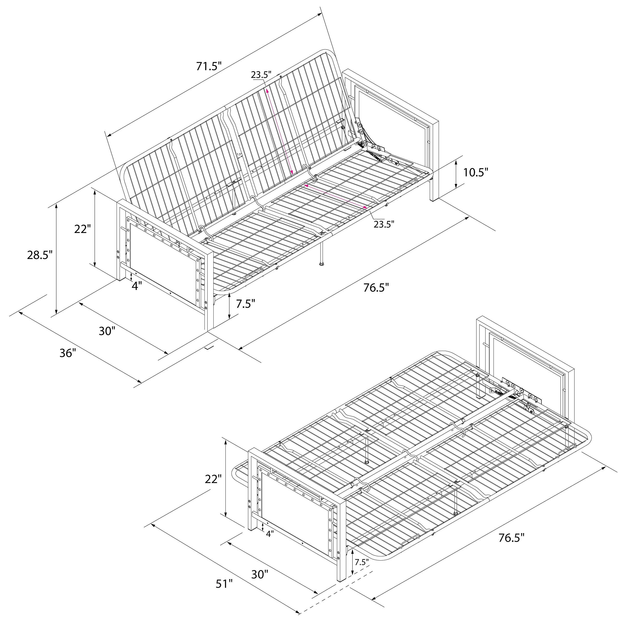 DHP Henley Metal Arm Futon Frame, Industrial Loft Design, Converts to Sleeper, Black Sturdy Metal by DHP (Image #7)