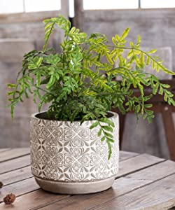 Large Size Cement Flower Pot -7 Inch Concrete Cylinder Planter -Modern Rustic Weddings Birthdays Decorative for Indoor and Outdoor Plants, Succulents -Floral Embossed with Drainage