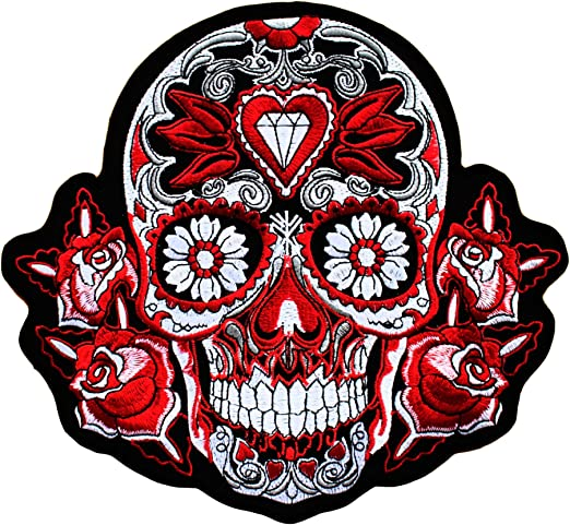 Parche Calavera Rosa Roja Cráneo - 22.1 cm x 24 cm XL Tamaño ...