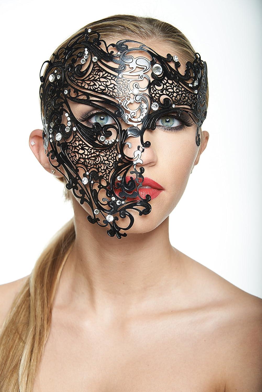 Vintage Gold Phantom Full Face Skull Venecian Masquerade Costume Mask Rhinestone