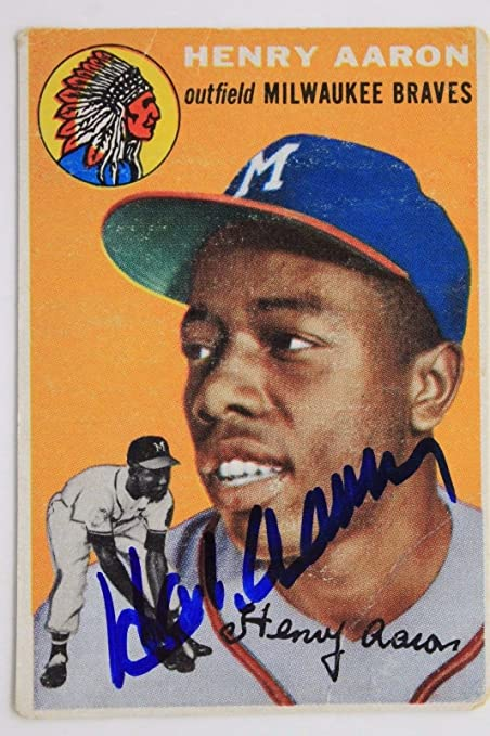 Henry Hank Aaron Autographed Signed 1954 Topps 128 Rookie