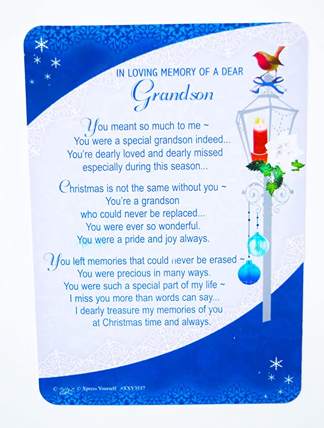 grandson grave card christmas decorations memorial remembrance missing you card amazoncouk office products