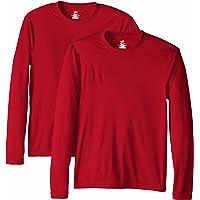 77662650 Hanes Men's Long Sleeve Cool Dri T-Shirt UPF 50+ (Pack of 2