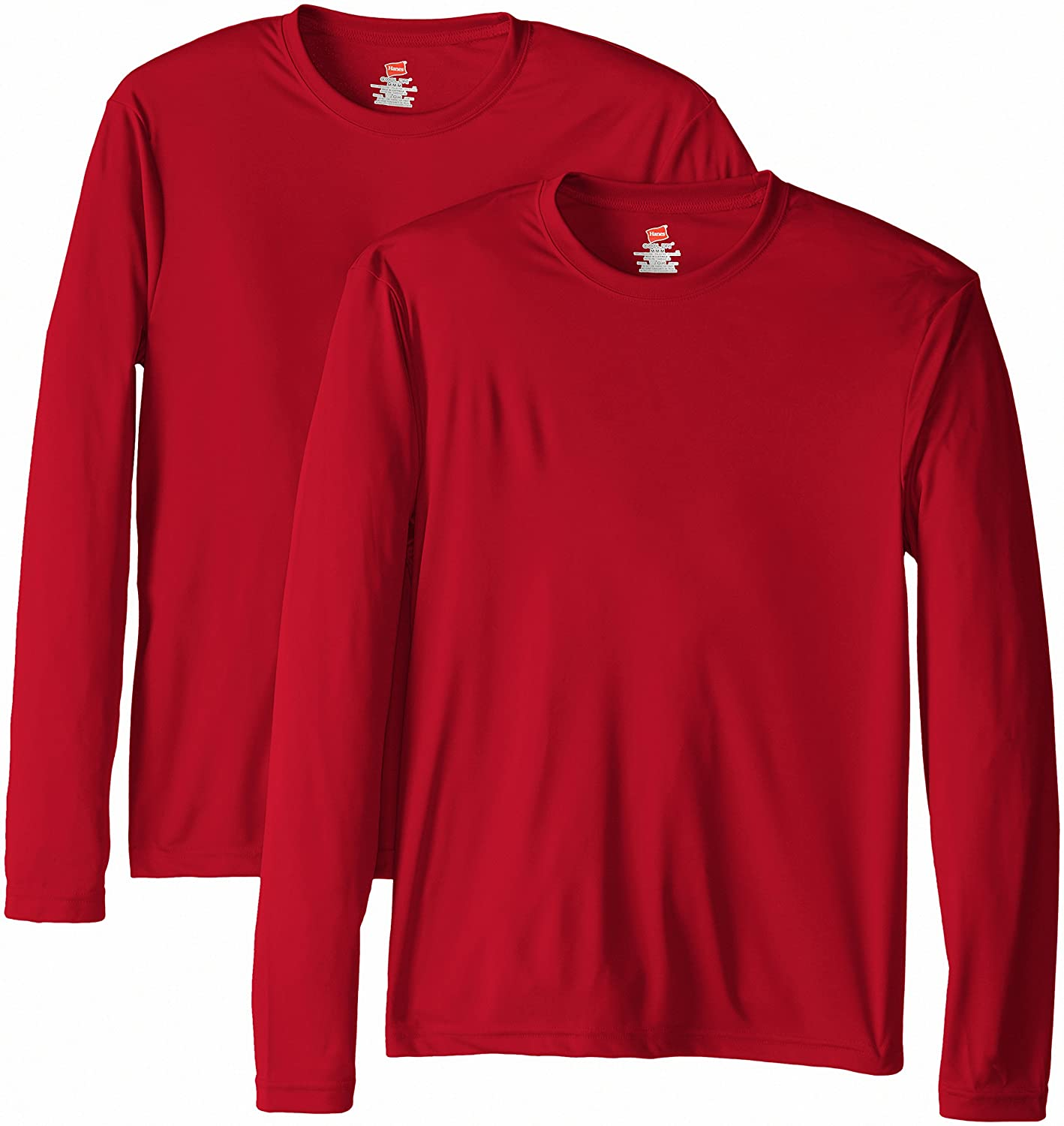 81ea544d0167 Hanes Men's Long Sleeve Cool Dri T-Shirt UPF 50+ (Pack of 2) at Amazon  Men's Clothing store: