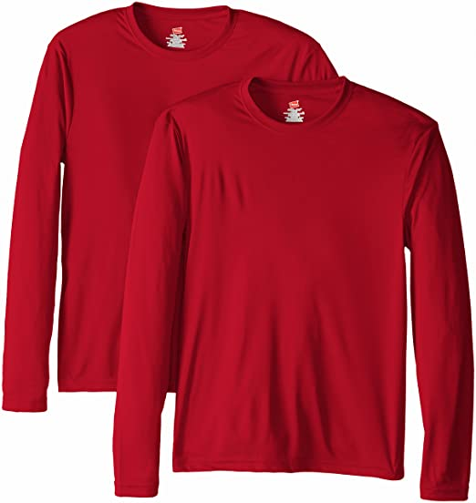 b67912ca88e Hanes Men's Long Sleeve Cool Dri T-Shirt UPF 50+ (Pack of 2)