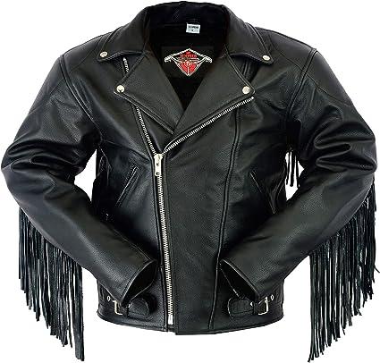 homme Veste de moto cuir de qualit/é sup/érieure franges//style Perfecto 106cm L