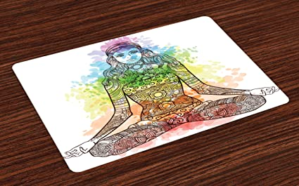 Amazon.com: Ambesonne Yoga Place Mats Set of 4, Tattoo ...