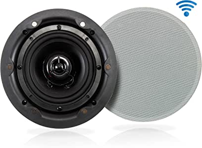 "Ceiling and Wall Mount Speaker - Wireless Bluetooth 8"" Dual 2-Way Audio Stereo Sound Subwoofer Kit with, 360 Watts, in-Wall & in-Ceiling Flush Mount for Home Surround System - Pyle PWRC85BT"