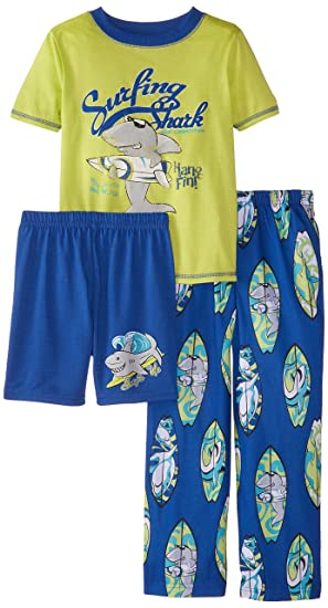 98c52ef25aef Amazon.com  Komar Kids Little Boys  Surfing Shark 3 Piece Pajama Set ...