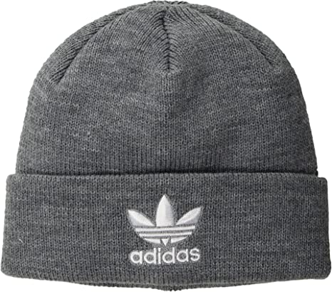 low priced 1bd27 56bb8 adidas Men s Originals Trefoil II Knit Beanie Heather Grey One Size   Amazon.in  Clothing   Accessories