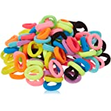 8.5mm Hair Ties Rubber Bands for Women Girls Thick Curly Hair, 100 PCS Mix Color, No Crease No Damage Seamless Large Ponytail Holders for Kids Men, No slip Durable Hair Elastics by CYWLIFE
