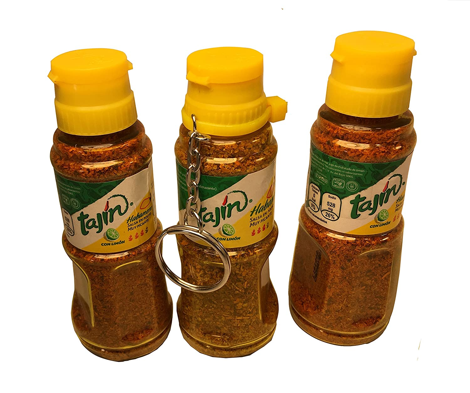 Amazon.com : Tajin Habanero Flavor (Pack of 3) including one Key Chain Version Hot Mexican Seasoning : Grocery & Gourmet Food