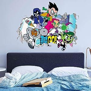 Teen Titans Go Wall Decals Custom Sticker Vinyl Peel and Stick Art Nursery Baby Room Decor JO123 (Large 40 W x 24 H Inches)