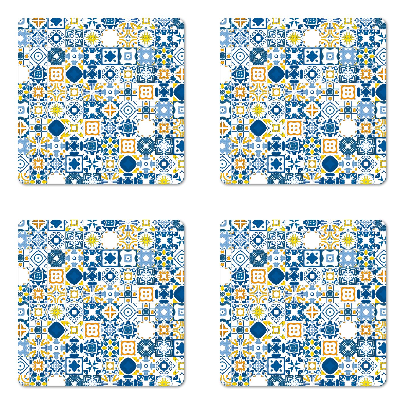 Ambesonne Yellow and Blue Coaster Set of