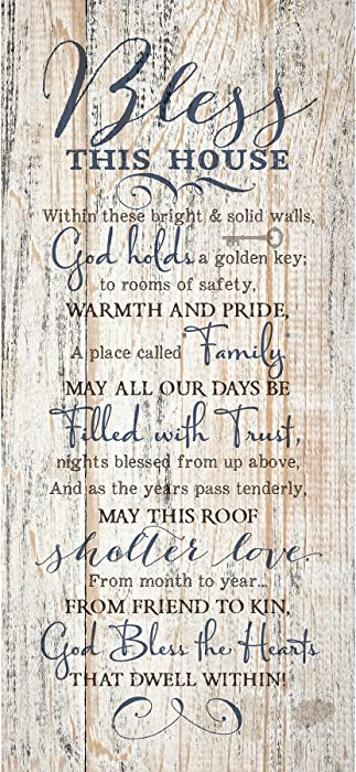 Dexsa Bless This House Wood Plaque Inspiring Quote 5.5x12 - Classy Frame Wall Hanging Decoration | Within These Bright & Solid Walls, God Holds a Golden Key | Christian Religious Home Decor Saying
