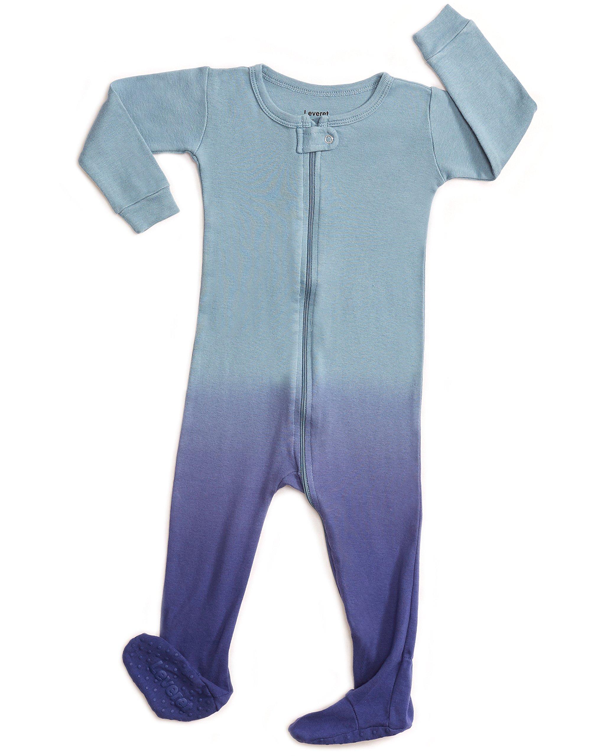 Leveret Organic Cotton Tie-Dye Blue Footed Pajama Sleeper 3 Years