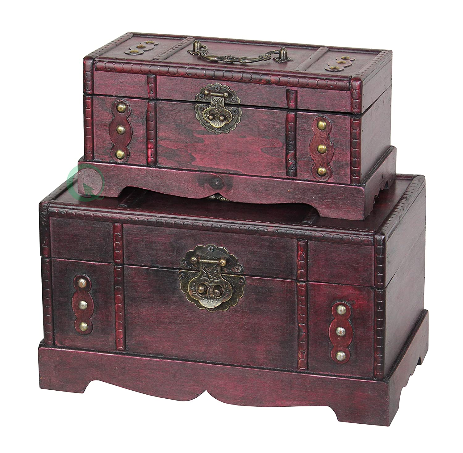 Amazon.com: Vintiquewise(TM) Antique Old Wooden Trunk/Treasure Chest, Set  Of 2: Kitchen U0026 Dining