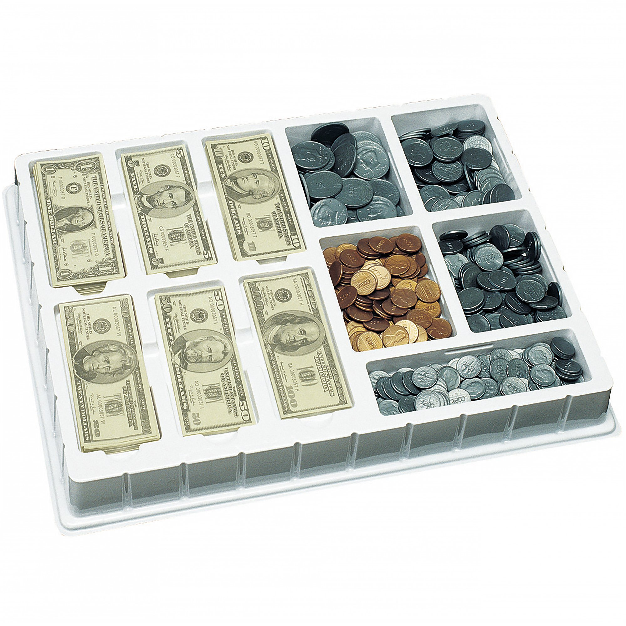 Educational Insights Play Money Coins & Bills Deluxe Set, Ages 5 and Up, (750 pieces and Deluxe Storage Tray) by Educational Insights