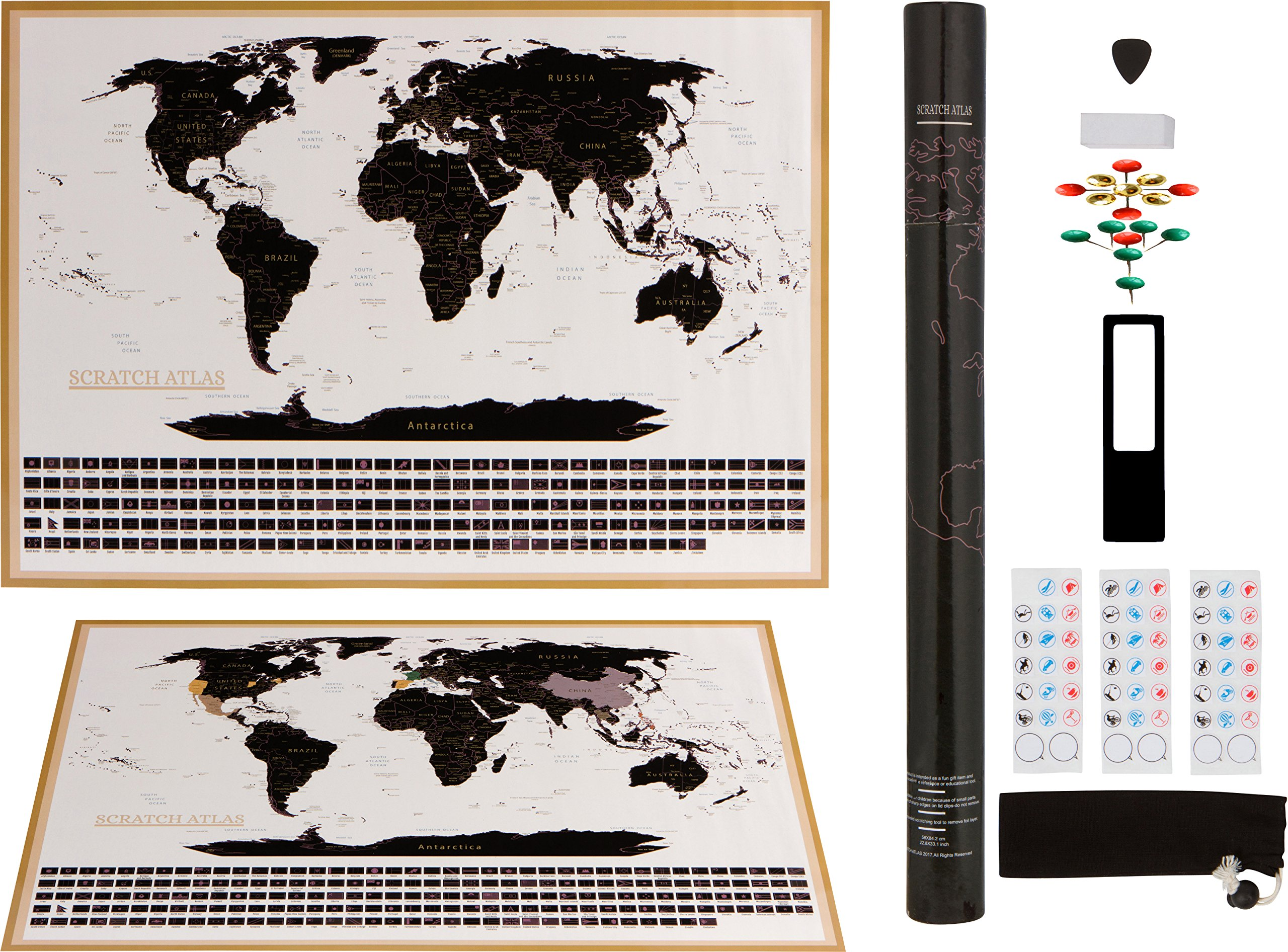 Scratch Off World Map Complete Set with US States and Country Flags, Best Travel Poster gift, Perfect Travelers Wall Decal, Professionally Designed Detailed Cartography (33.15 x 22.84inches A1 Frame)