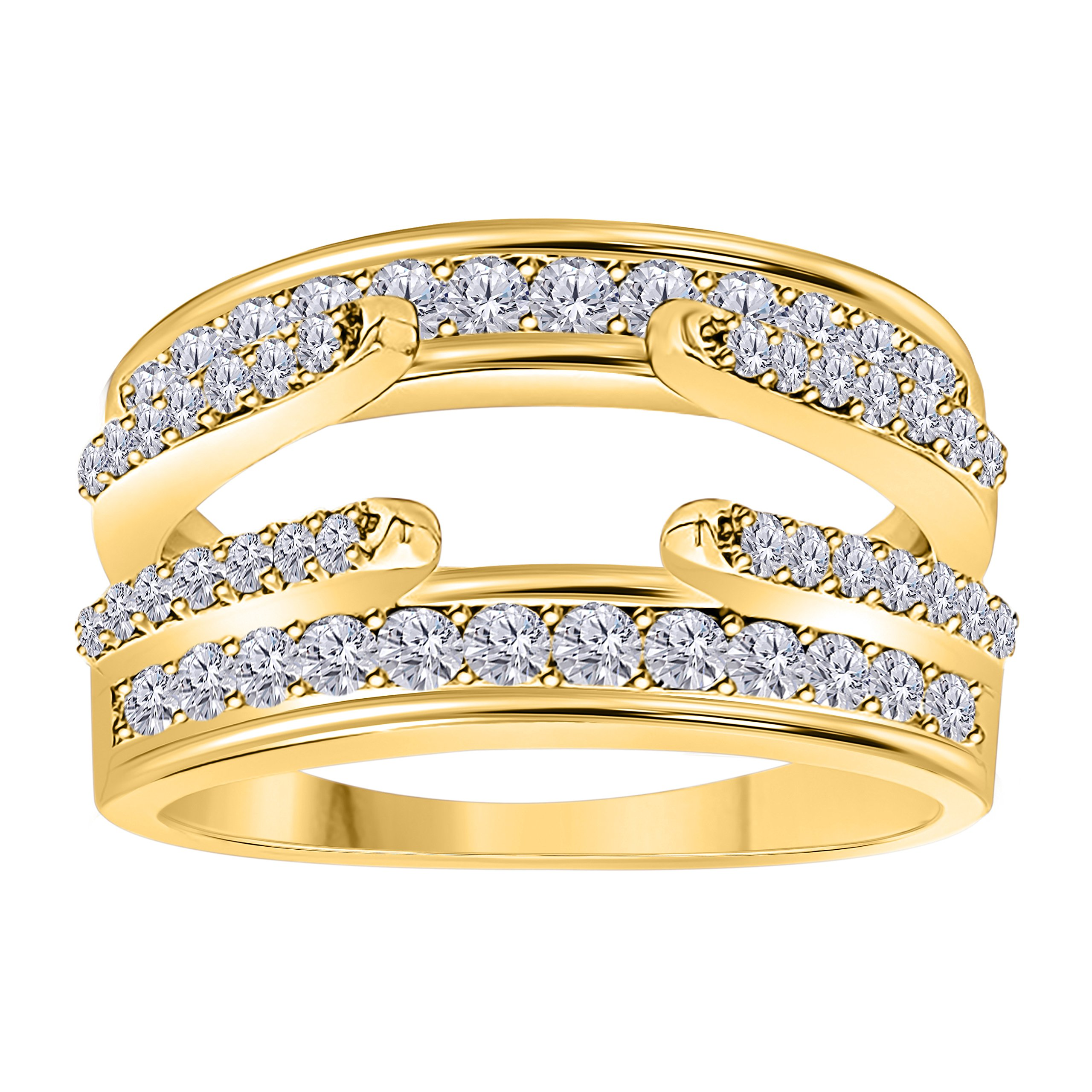 Gems and Jewels 14K Yellow Gold Finish Combination Curved Style Cathedral Wedding Ring Guard Enhancer with Cubic Zirconia 1.00 Ct by Gems and Jewels