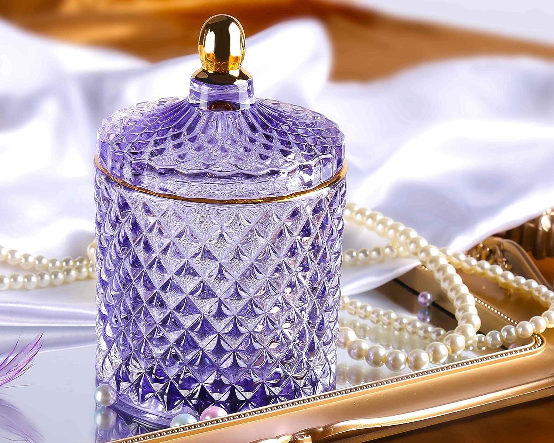 N/A Caja Joyer, Decoración de Almacenamiento Cristal, Vaso con Tapa Organizador Bandejas para Joyas, Exhibir Collares Pulseras Perla Anillos Regalos Originales